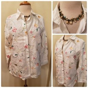 Coldwater Creek White Linen Embroidered Blouse